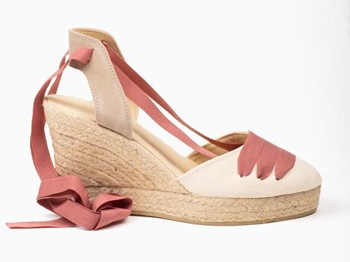 Alpargata cuña alta plataforma figueres color crudo cinta rosa ceniza