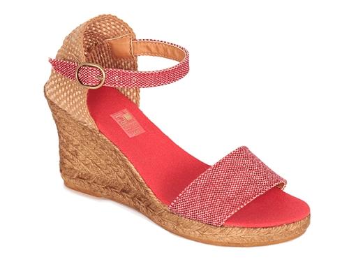 Alpargata sandalia de cuña alta en color rojo