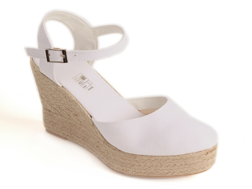 Sandalia lona de cuña alta con plataforma (Mod.52) en color blanco