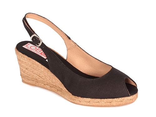 Alpargata cuña media sandalia abierta en color negro