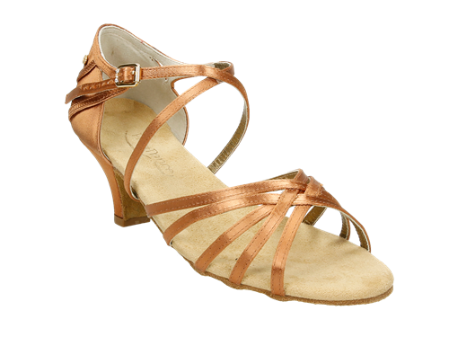Sandalia baile latino tiras cruzadas tacón semi-ancho (PD301)