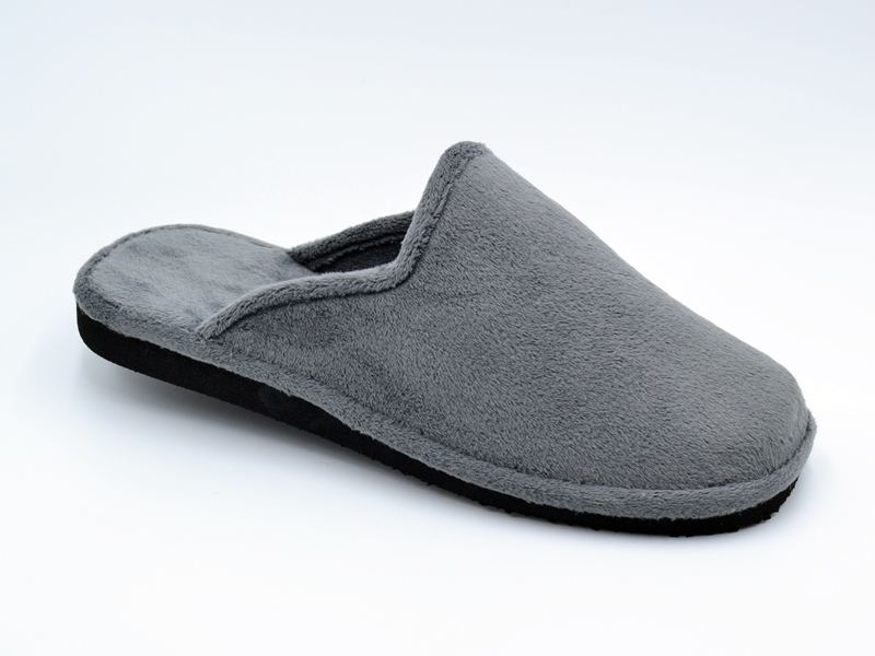 Zapatilla de pelo abierta para hombre en color griso