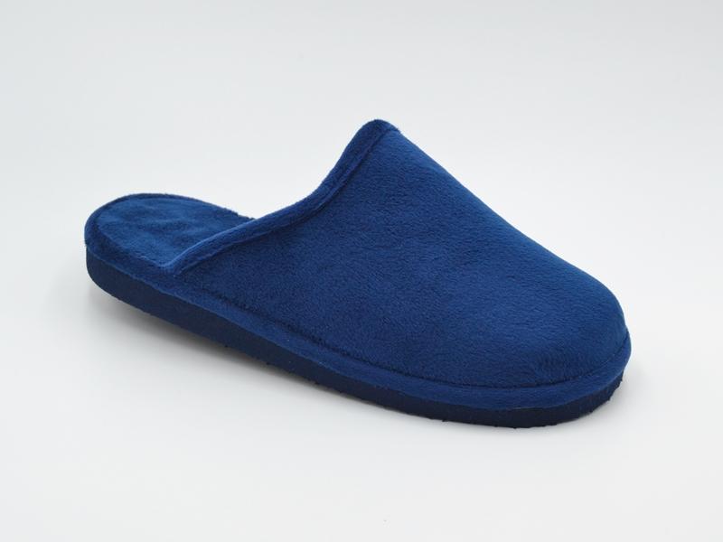 Zapatilla de pelo abierta para mujer en color marino